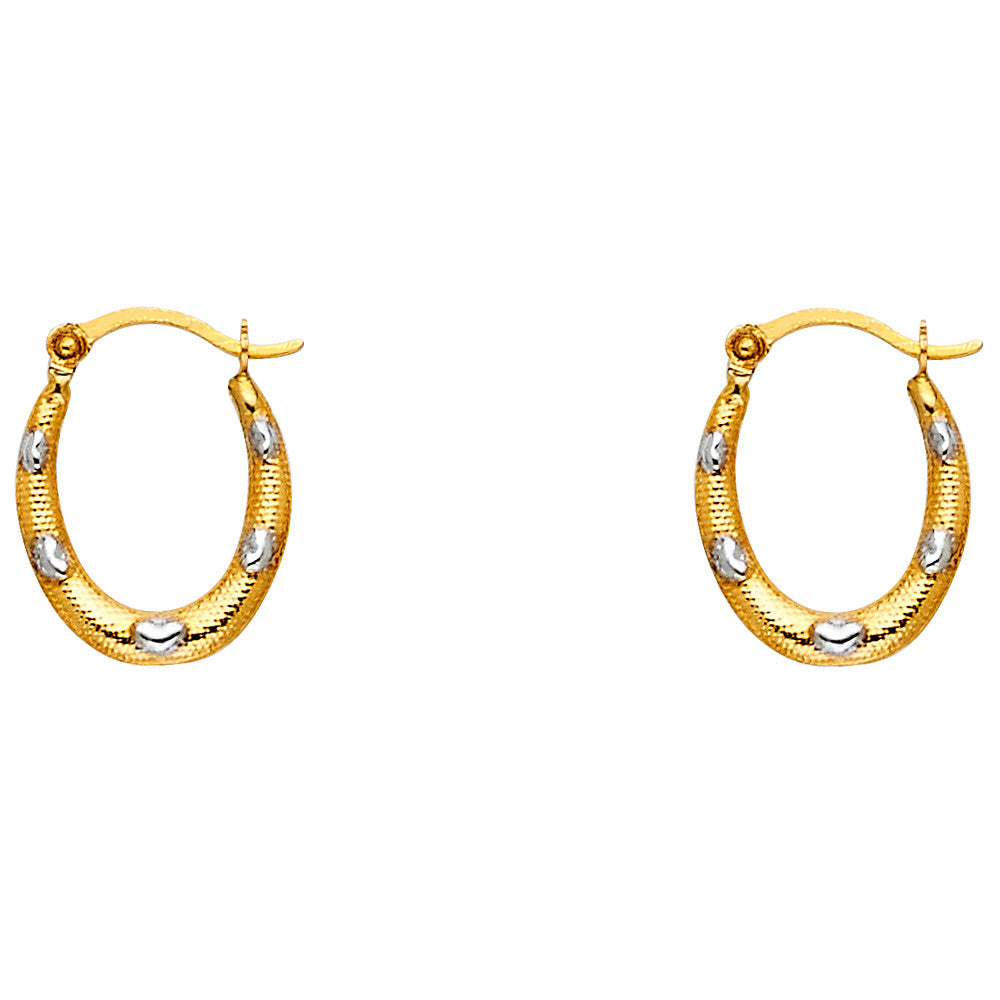 14K 2T Fancy Hollow Hoop Earrings/Avg. Weight: 0.4 gr. - Top Gold & Diamond Jewelry