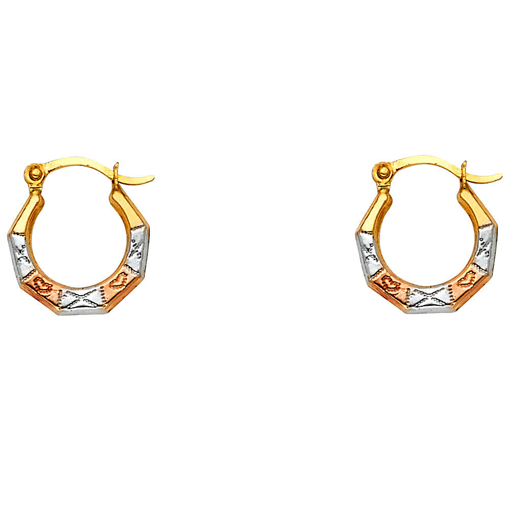 14K 3C Fancy Hollow Hoop Earrings/Avg. Weight: 0.4 gr. - Top Gold & Diamond Jewelry