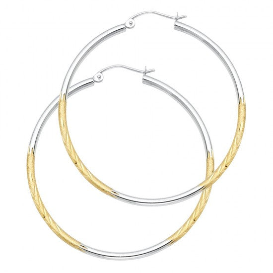 14K 2T 2mm DC Satin Hoop Earrings.Avg. Weight: 2.3 gr. - Top Gold & Diamond Jewelry