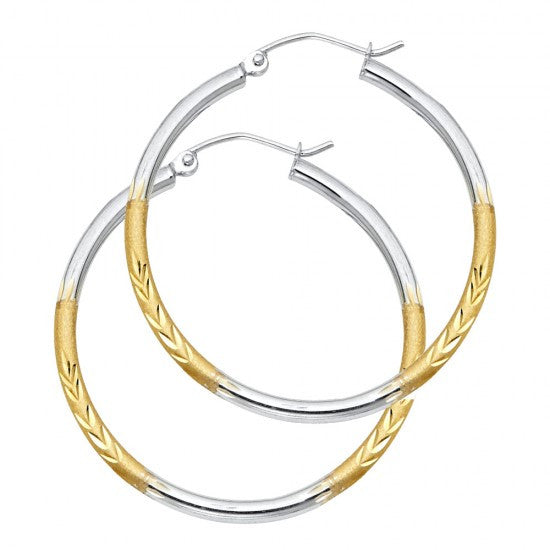 14K 2T 2mm DC Satin Hoop Earrings.Avg. Weight: 2 gr. - Top Gold & Diamond Jewelry