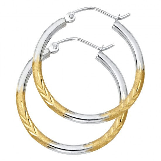 14K 2T 2mm DC Satin Hoop Earrings.Avg. Weight: 1.5 gr. - Top Gold & Diamond Jewelry