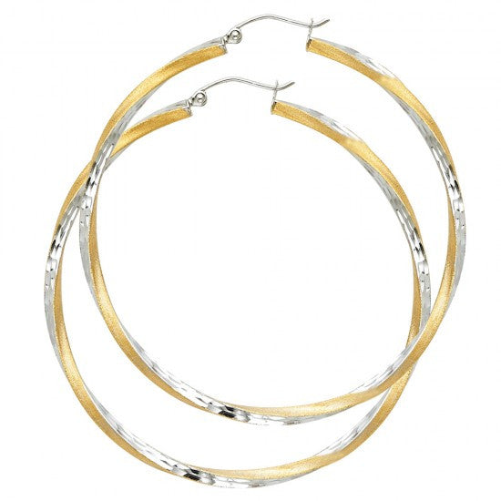 14K 2T 2.6mm DC Satin Hoop Earrings.Avg. Weight: 4.2 gr. - Top Gold & Diamond Jewelry