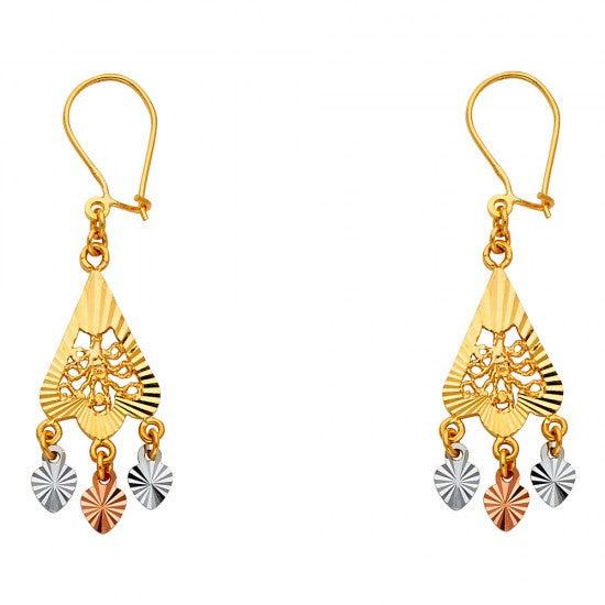 14K 3C DC Channeldelier Hanging Earrings/Avg. Weight: 2.6 gr. - Top Gold & Diamond Jewelry