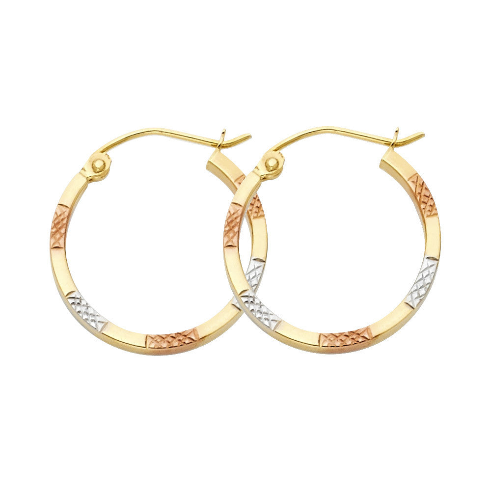 14K 3C DC Square Hoop Earrings/Avg. Weight: 0.8 gr. - Top Gold & Diamond Jewelry