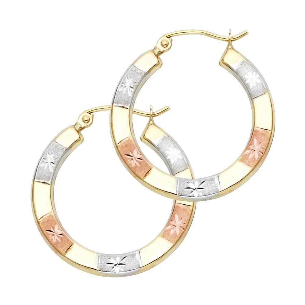14K 3C DC Hoop Earrings/Avg. Weight: 0.9 gr. - Top Gold & Diamond Jewelry
