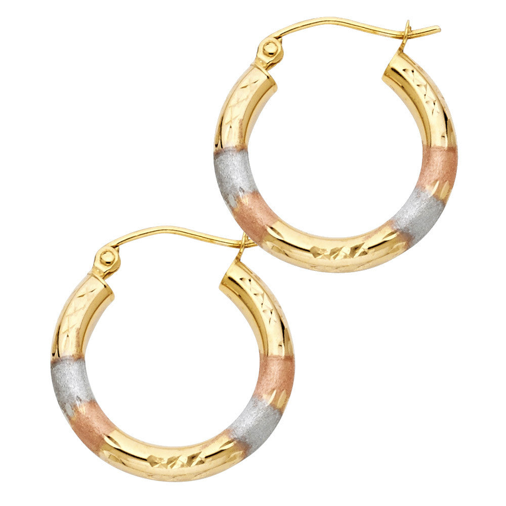14K 3C DC Hoop Earrings/Avg. Weight: 1.6 gr. - Top Gold & Diamond Jewelry
