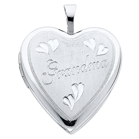 14K Heart Locket Pendant- Grandma - Top Gold & Diamond Jewelry