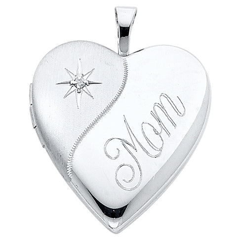 14K Heart Locket Pendant- Mom - Top Gold & Diamond Jewelry
