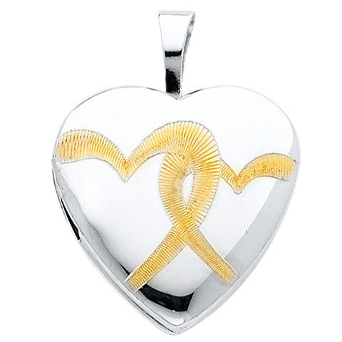 14KW Heart Locket Engraved Pendant - Heart Yellow - Top Gold & Diamond Jewelry
