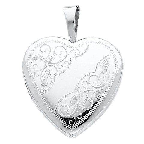 14K Heart Locket Engraved Pendant - Top Gold & Diamond Jewelry