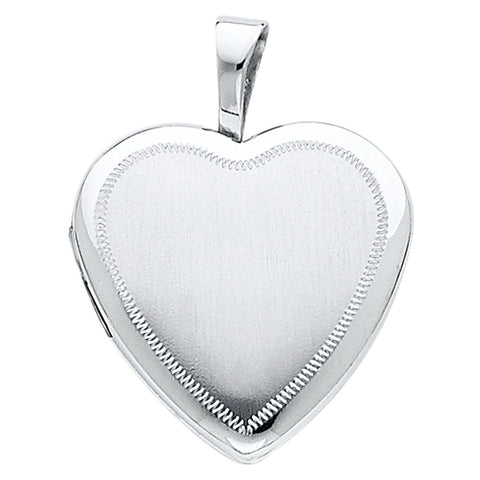 14K Heart Locket Engraved line Pendant - Top Gold & Diamond Jewelry