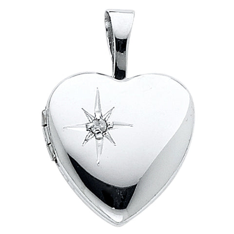 14KW Heart Locket Engraved Pendant - Top Gold & Diamond Jewelry