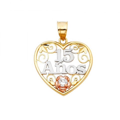 14K 3C Sweet 15 Years Heart Pendant.Avg. Weight: 1.8 gr. - Top Gold & Diamond Jewelry