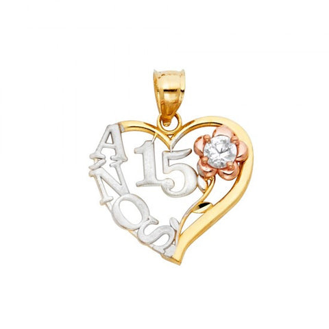14K 3C Sweet 15 Years Heart Pendant.99.08 - Top Gold & Diamond Jewelry