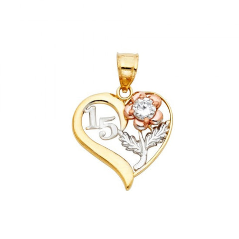 14K 3C Sweet 15 Years Heart Pendant.Avg. Weight: 1.5 gr. - Top Gold & Diamond Jewelry