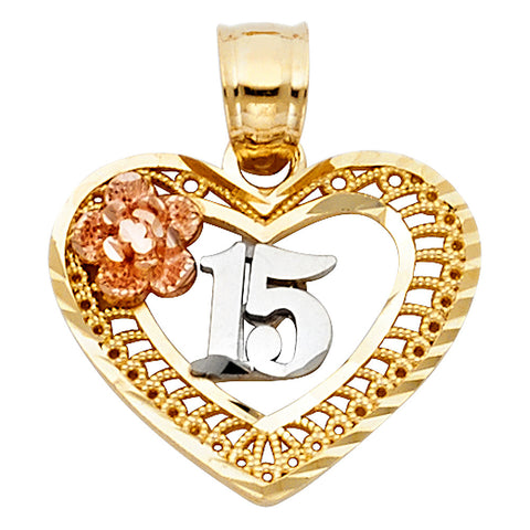 14K 3C Sweet 15 Years Heart Pendant.Avg. Weight: 1.7 gr. - Top Gold & Diamond Jewelry