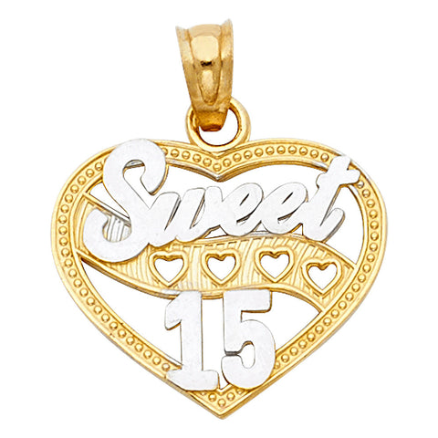 14K 2T Sweet 15 Years Heart Pendant.Avg. Weight: 1.2 gr. - Top Gold & Diamond Jewelry