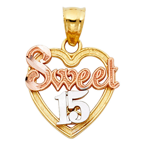 14K 3C Sweet 15 Years Heart Pendant.Avg. Weight: 1.4 gr. - Top Gold & Diamond Jewelry