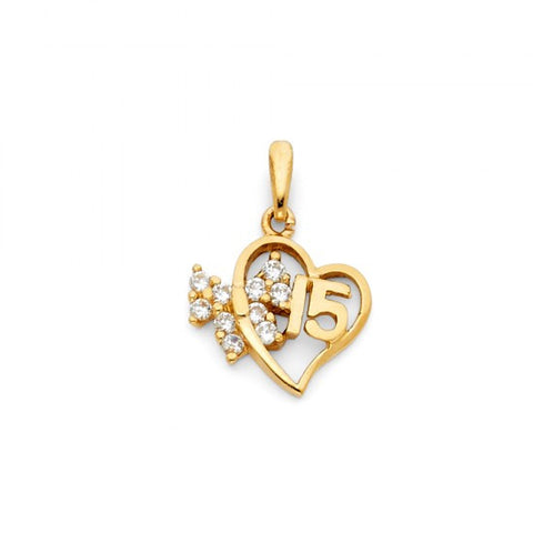 14KY Sweet 15 Years Heart CZ Pendant.Avg. Weight: 1.3 gr. - Top Gold & Diamond Jewelry