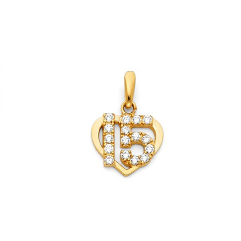 14KY Sweet 15 Years Heart CZ Pendant.Avg. Weight: 1.1 gr. - Top Gold & Diamond Jewelry
