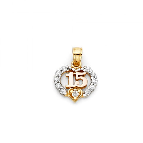 14K 2T Sweet 15 Years Heart CZ Pendant.Avg. Weight: 1.2 gr. - Top Gold & Diamond Jewelry