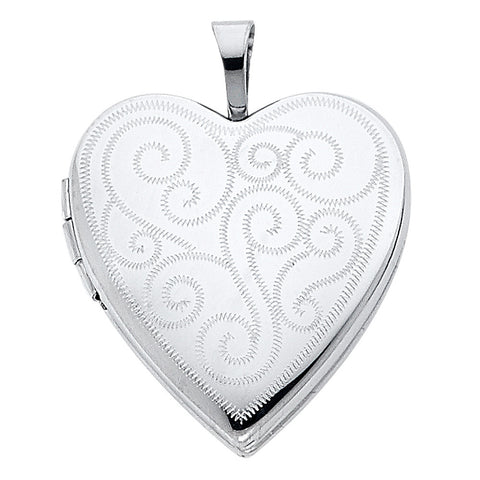 14KW Engraved Heart Locket Pendant - Top Gold & Diamond Jewelry