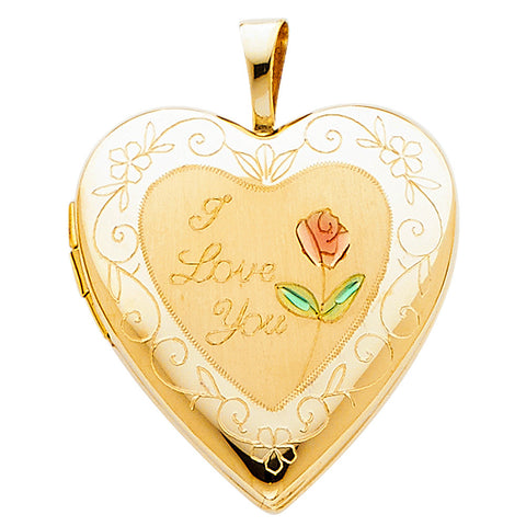 "14KY Flower Enamel Engraved Heart ""I Love You"" Locket Pendant - Top Gold & Diamond Jewelry"