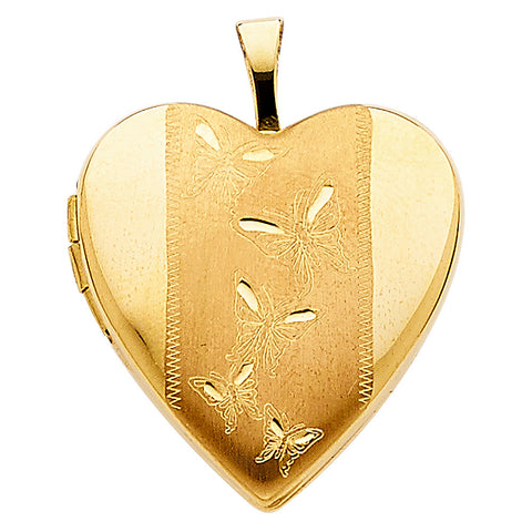 14KY Butterfly Engraved Heart Locket Pendant - Top Gold & Diamond Jewelry