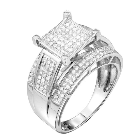 10k White Gold 1/2ct TDW Pave Diamond Engagement Ring (G-H, I1-I2) - Top Gold & Diamond Jewelry