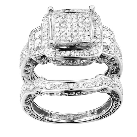 10k White Gold 0.68ct TDW Diamond Ring Set (G-H, I1-I2) - Top Gold & Diamond Jewelry