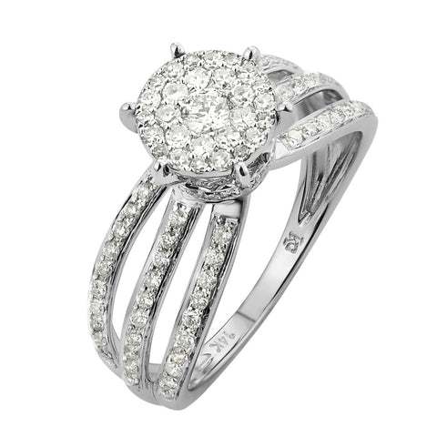 Copy of 14k White Gold 0.88ct TDW Diamond Engagement Ring (G-H, SI1-SI2) - Top Gold & Diamond Jewelry