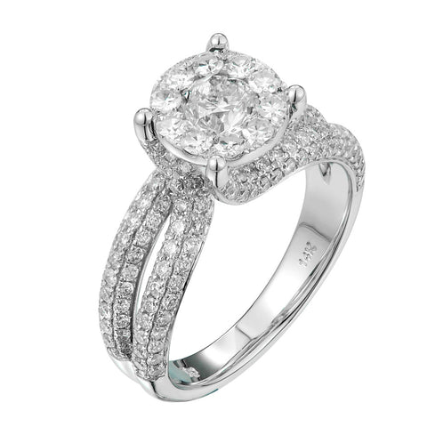 14k White Gold 1 3/5ct TDW Diamond Engagement Ring (G-H, SI1-SI2) - Top Gold & Diamond Jewelry