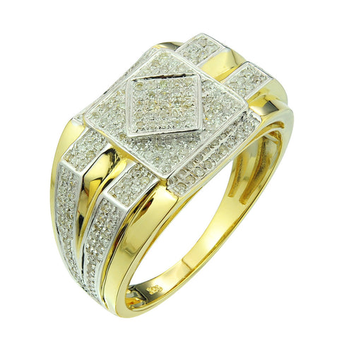 10k Yellow Gold Men's 1/2ct TDW Diamond Ring (G-H, I2-I3) - Top Gold & Diamond Jewelry
