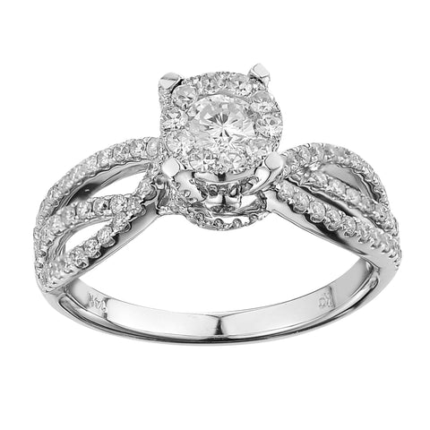14k White Gold 0.88ct TDW Diamond Engagement Ring (G-H, SI1-SI2) - Top Gold & Diamond Jewelry