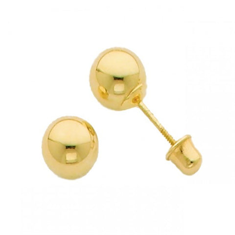 14k Yellow 5mm Ball Stud Earrings - Screw Back - Top Gold & Diamond Jewelry