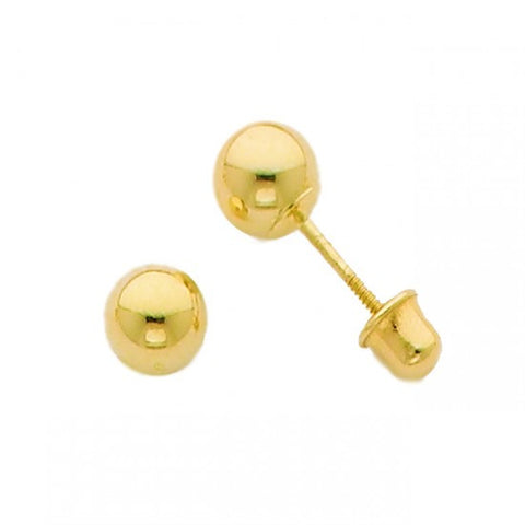 14k Yellow 4mm Ball Stud Earrings - Screw Back - Top Gold & Diamond Jewelry