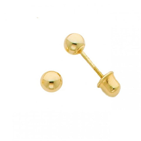 14k Yellow 3mm Ball Stud Earrings - Screw Back - Top Gold & Diamond Jewelry