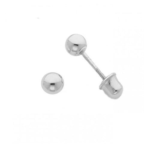 14k White 3mm Ball Stud Earrings - Screw Back - Top Gold & Diamond Jewelry