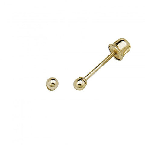 14k Yellow 2mm Ball Stud Earrings - Screw Back - Top Gold & Diamond Jewelry