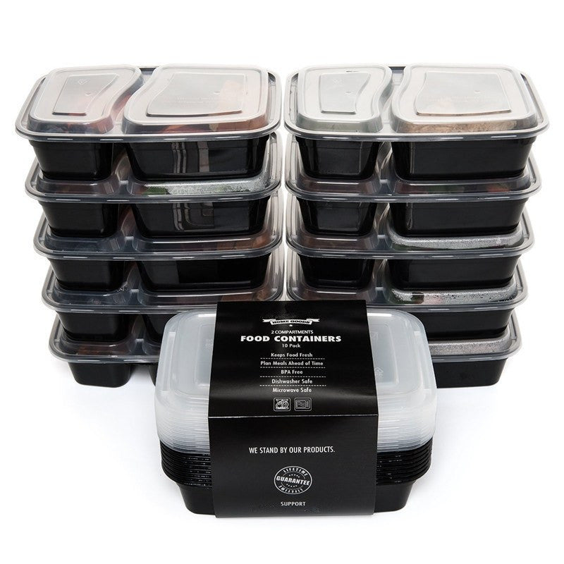 Set of 10 - 2 Compartment Food Storage Containers Stackable with Lids BPA Free Microwave, Freezer and Dishwasher Safe 50% OFF