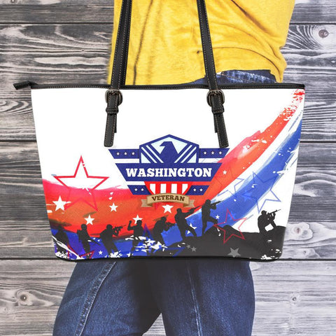 WA Veteran Large Leather Tote Bag