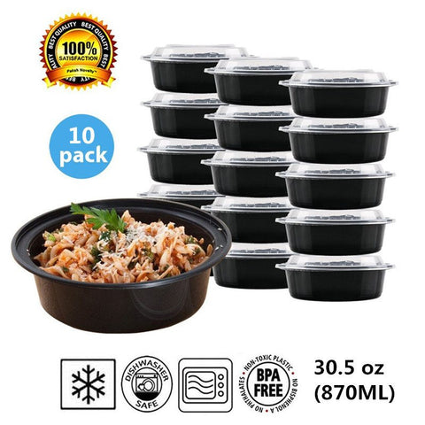 Set of 10-Round Plastic Food Storage Container With Lid,  BPA Free Microwave, Freezer and Dishwasher Safe 50% OFF
