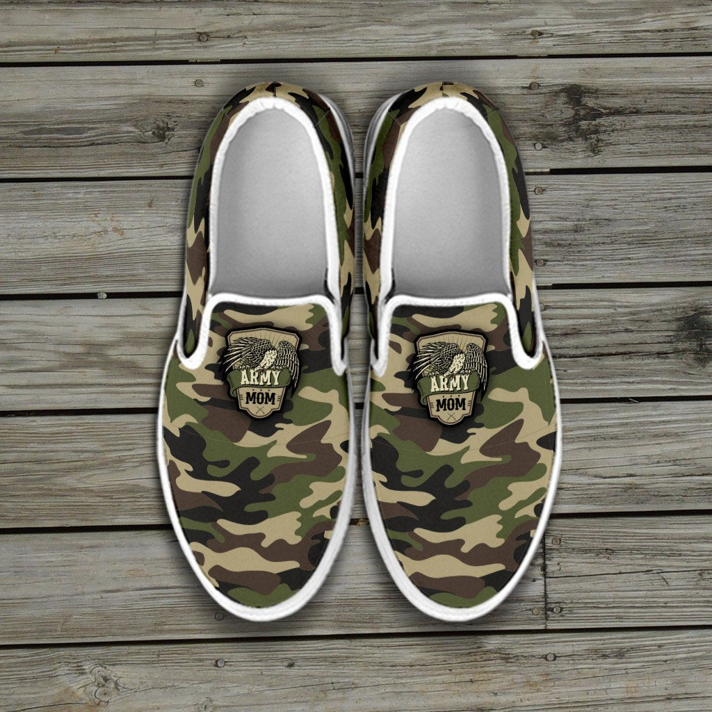 Army Mom Camouflage Slip Ons