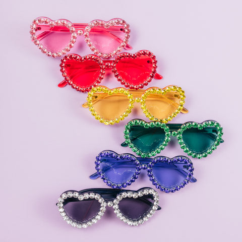 CLEARLY BLACK HEART RHINESTONES SUNNIES