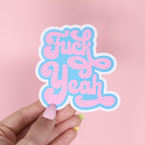 Fuck Yeah sticker - Blue