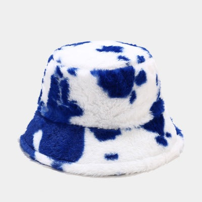 Blue Cow Print Bucket Hat