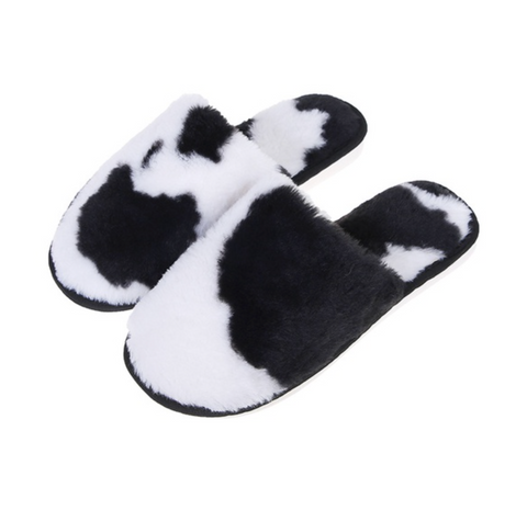 Cow Slippers Black