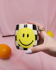 Smiley Checkered Ceramic Cup