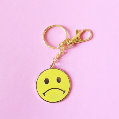 Sad Smiley Face Keychain
