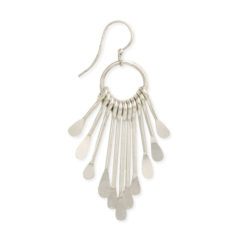 Silver Paddle Fringe Earrings
